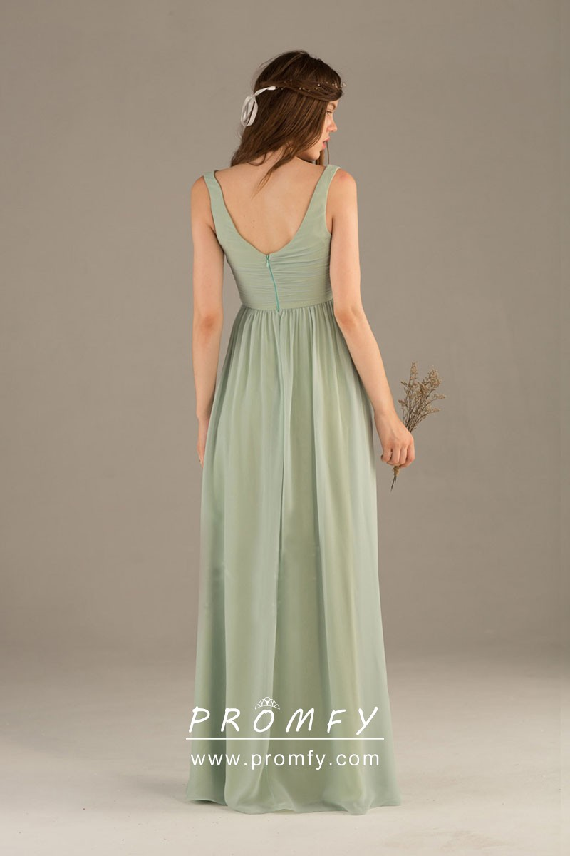 Sage Green Chiffon Sleeveless V Neck A Line Long Simple