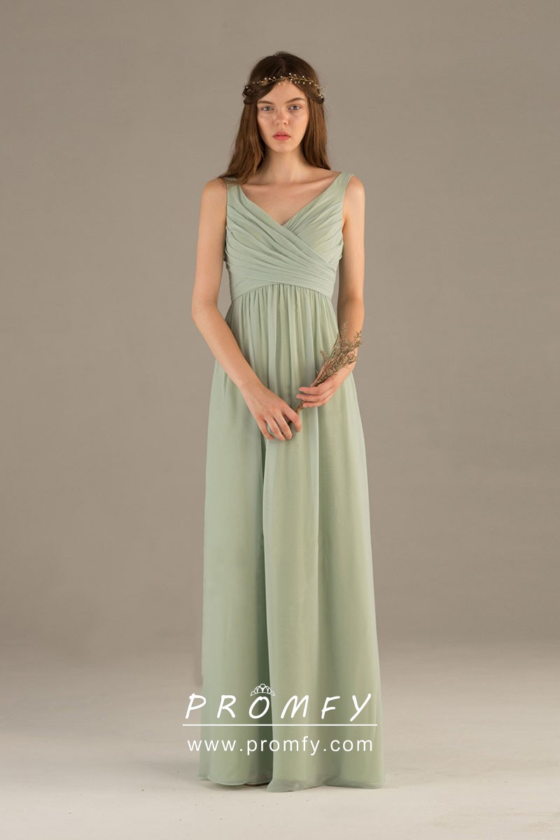shop for discount price 100% satisfaction Sage Green Chiffon Sleeveless V-neck A-line Long Simple Bridesmaid Dress