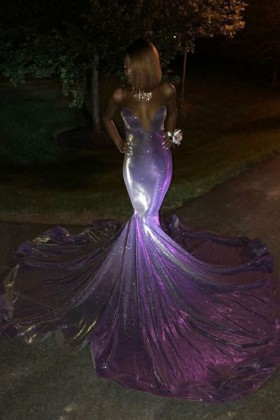 Long Train Dresses Formal Gowns With Long Train Promfy,Plus Size Purple Dress For Wedding Guest