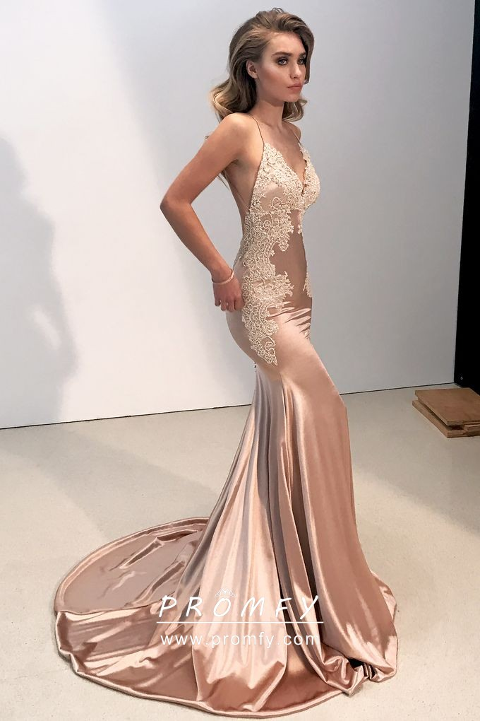Rose Gold Lace Appliqued Open Back Spaghetti Strap Mermaid Satin Prom Dress