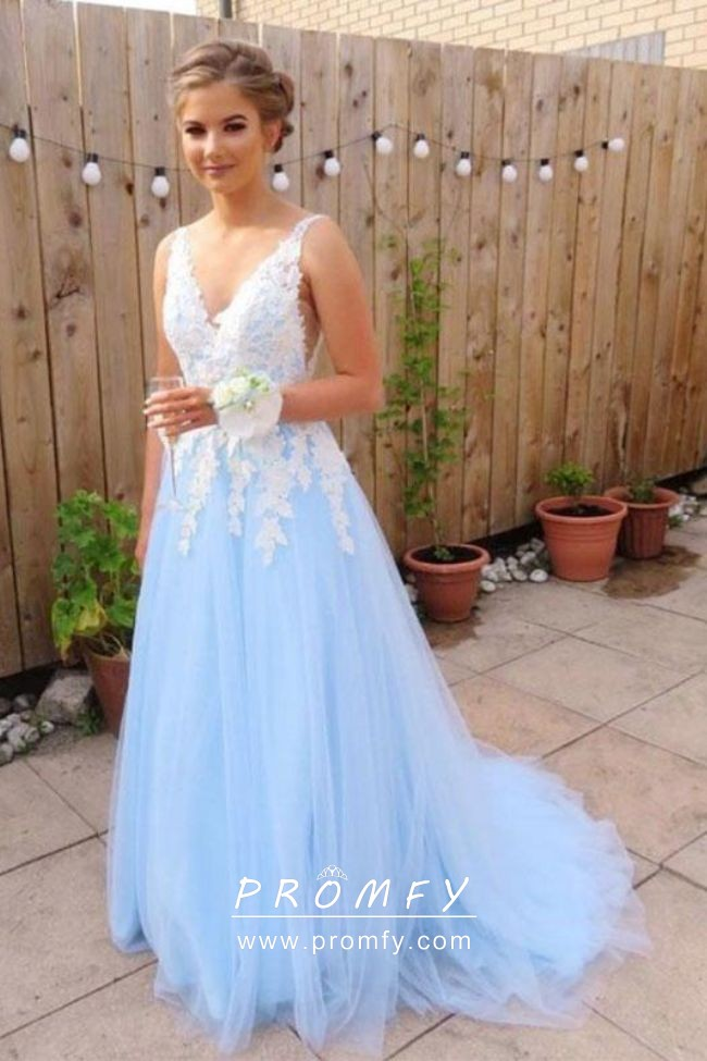 Beautiful White Lace Appliqued Sky Blue Tulle Floor Length