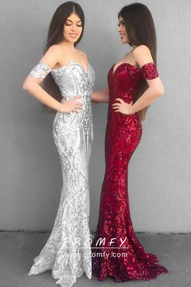 6dbe6e4e Sparkly silverred sequin off the shoulder sweetheart slim mermaid formal  dresses