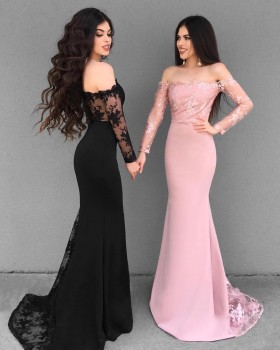 976a6aac4f8 Illusion lace long sleeve feminine off the shoulder mermaid formal dresses