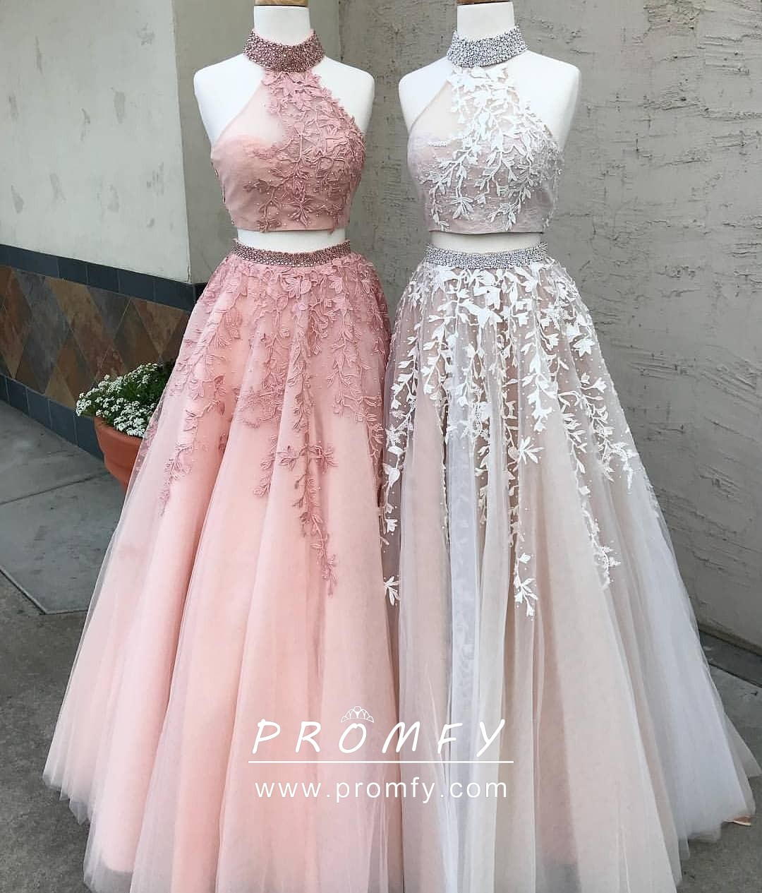 Beaded Halter High-neck Two-piece Lace Appliqued Designer Prom Dresses