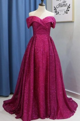 bc99b2851f6df glistening magenta sweetheart off the shoulder puffy floor length prom gown