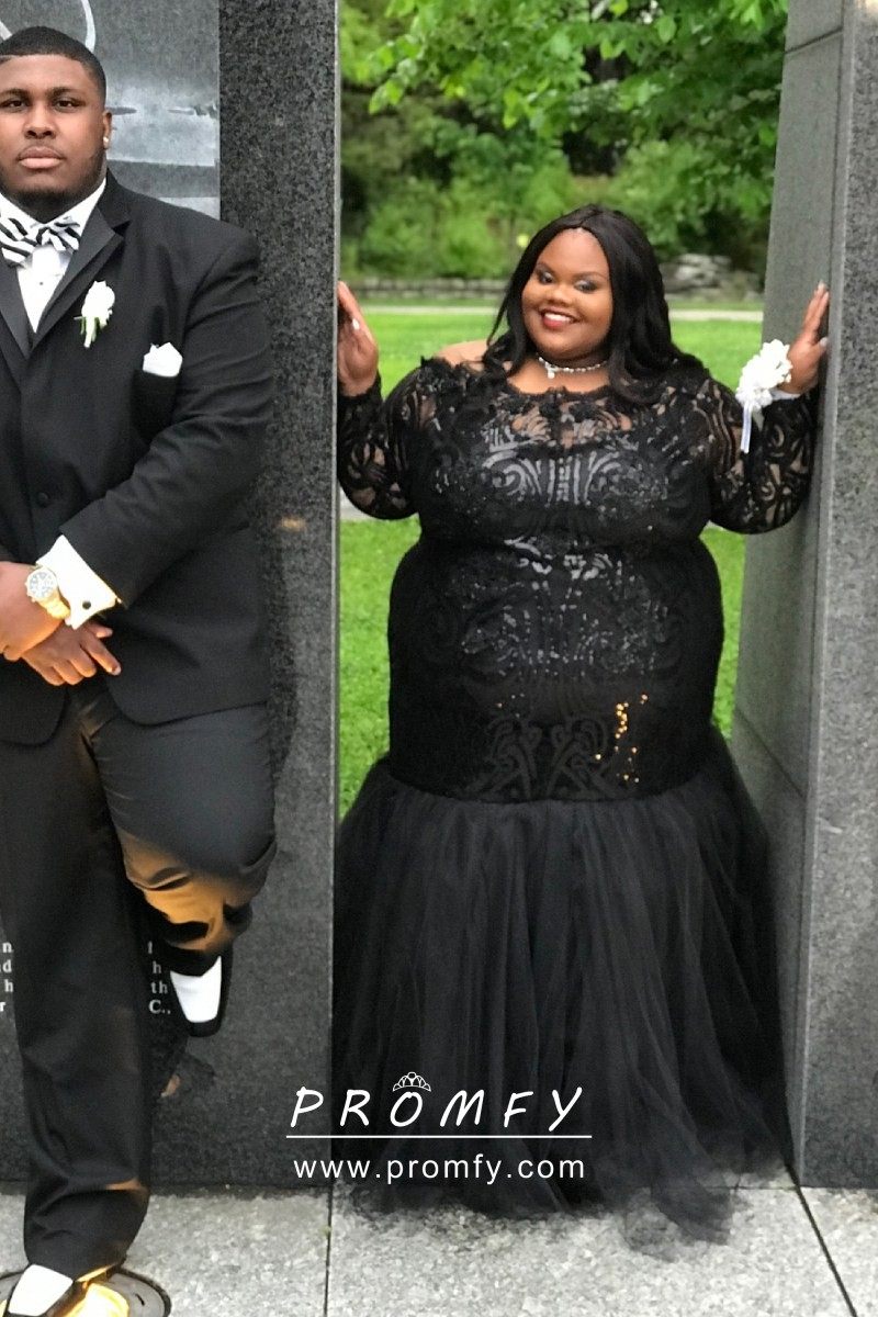 Trumpet Plus Size Black Sequin and Tulle Prom Dress