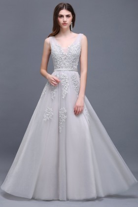 0e2d4a50903a Pretty light gray lace appliqued tulle deep V neck V back A line formal  dress