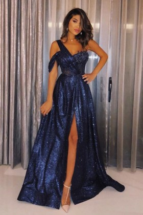 d50606e585cd Shine navy blue sequin one shoulder thigh high slit A line long prom dress