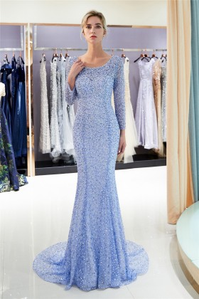 f6cfab01726a Sparkly periwinkle blue beading long sleeve mermaid long evening prom dress