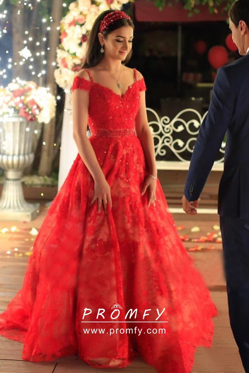 Red Lace Cold Shoulder Ball Gown Engagement Dress