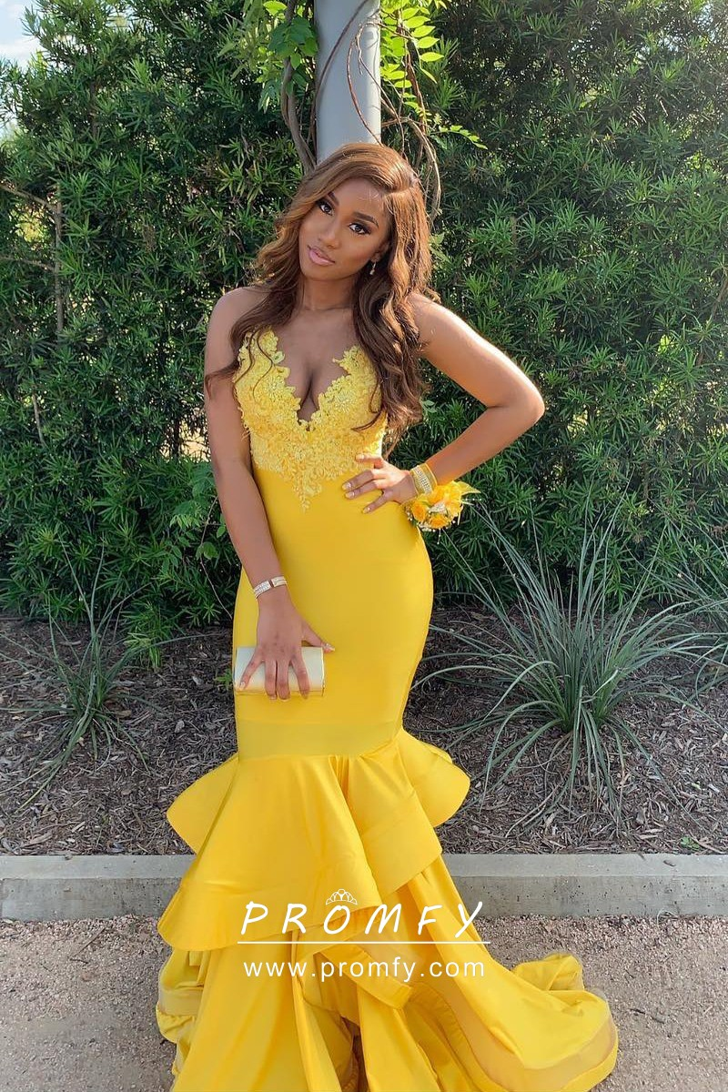 Tiered Mermaid Yellow Lace Spandex Long Prom Dress - Promfy