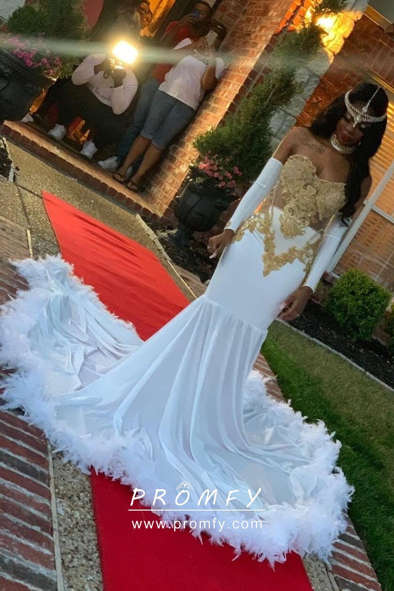 Exclusive Gold Lace And White Jersey With Feathers African American Prom Dress