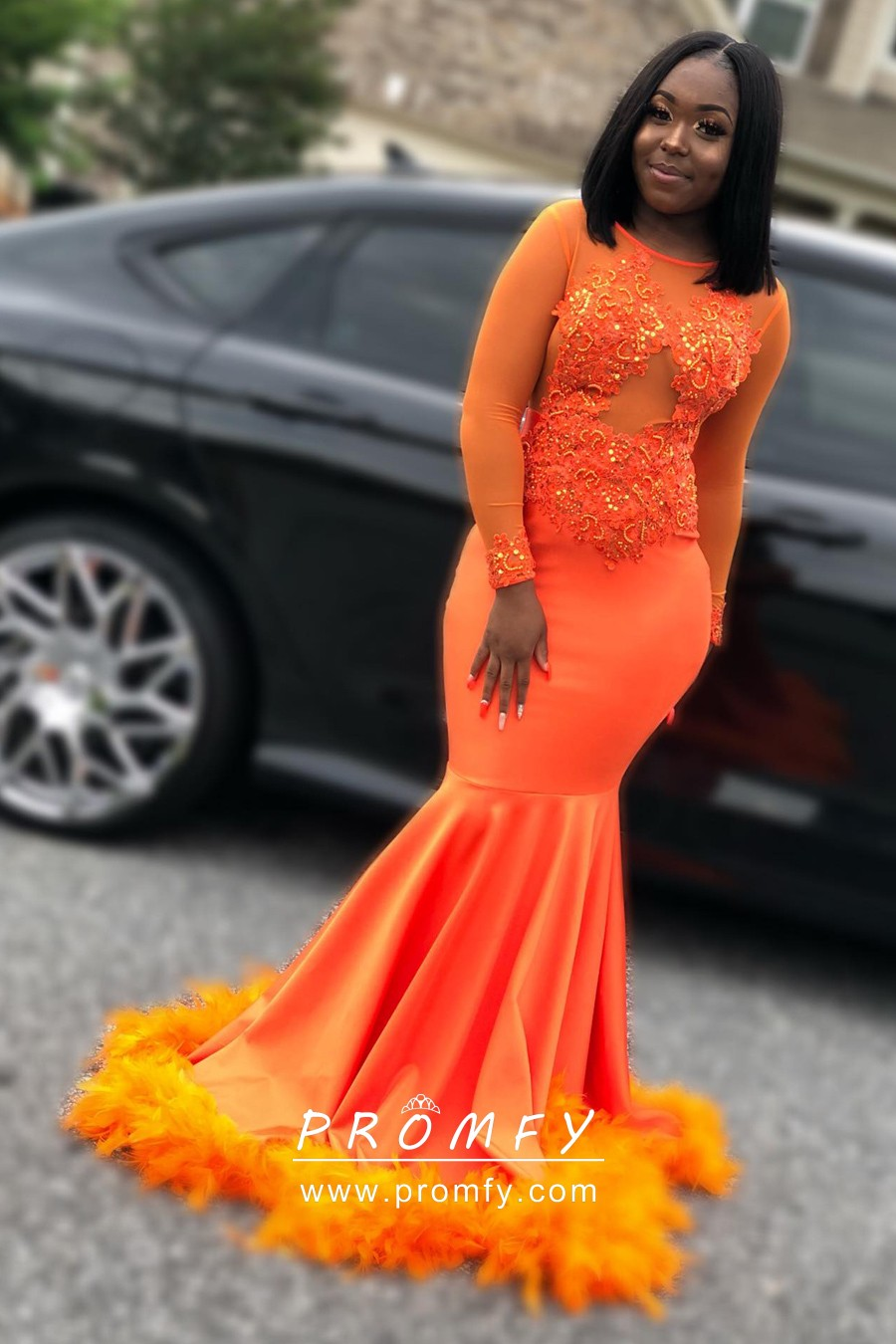 Orange Lace Satin And Feather Mermaid Prom Dress Promfy