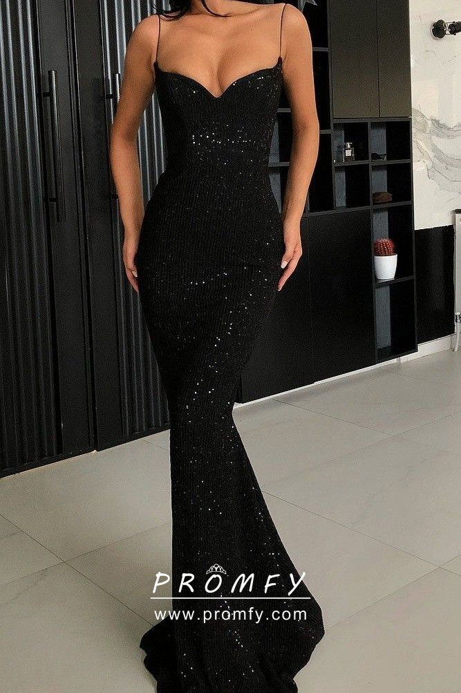 Elegant Black Sequin Slim Mermaid