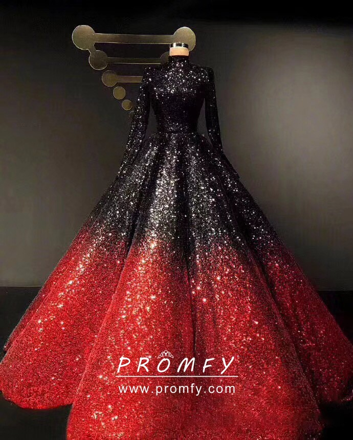 Black To Red Ombre Sequin Long Sleeve Ball Gown Promfy