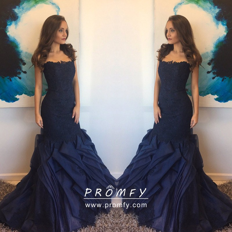 Navy Blue Lace Organza Drop Waist Flanged Prom Gown - Promfy