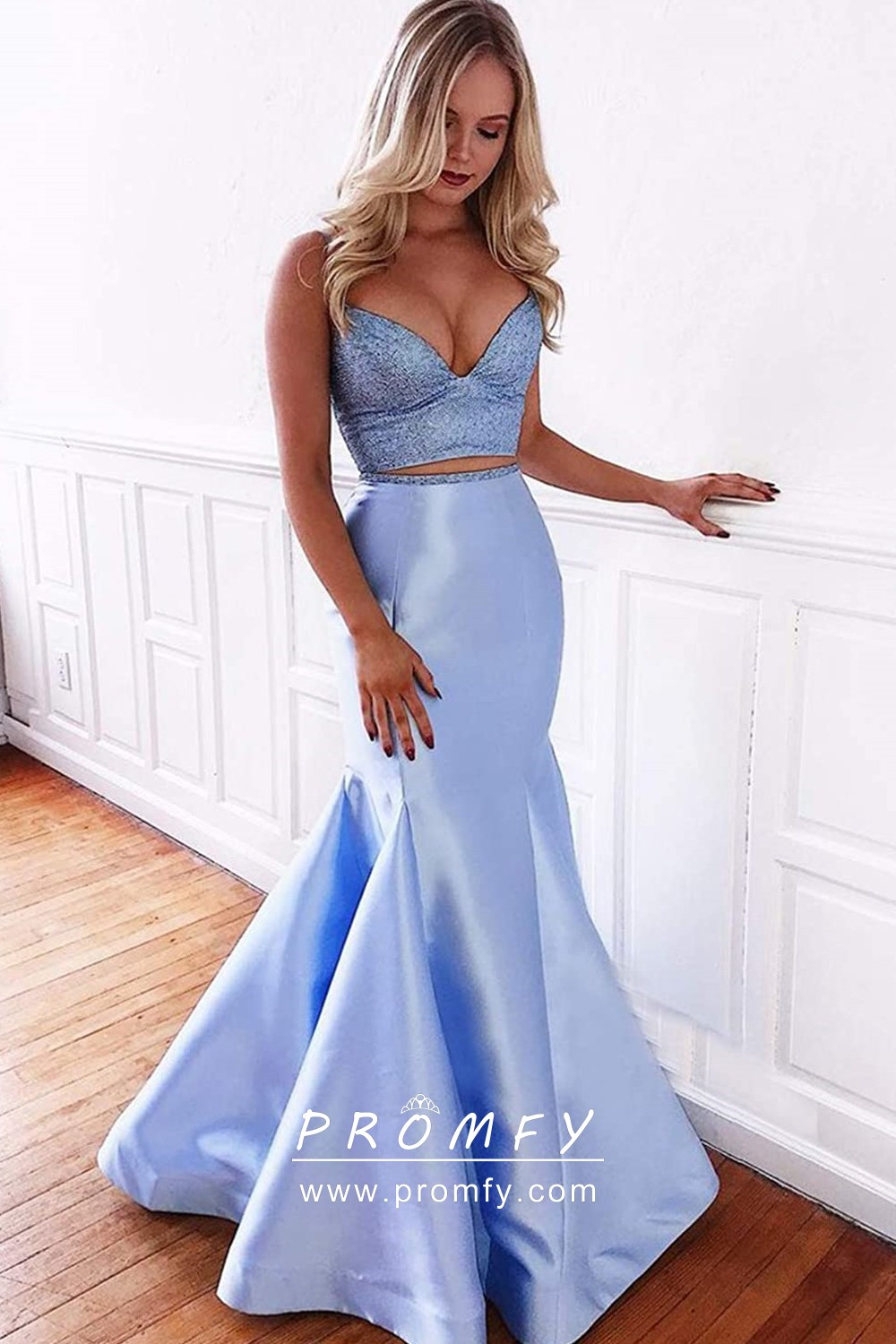 Two-piece Trumpet Long Prom Dress