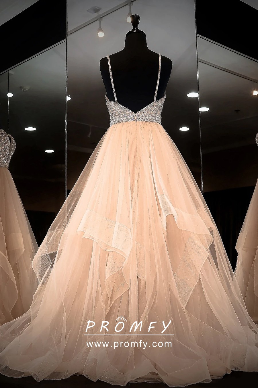 Alluring Nude Sheer Tulle with White Lace Prom Gown - Promfy