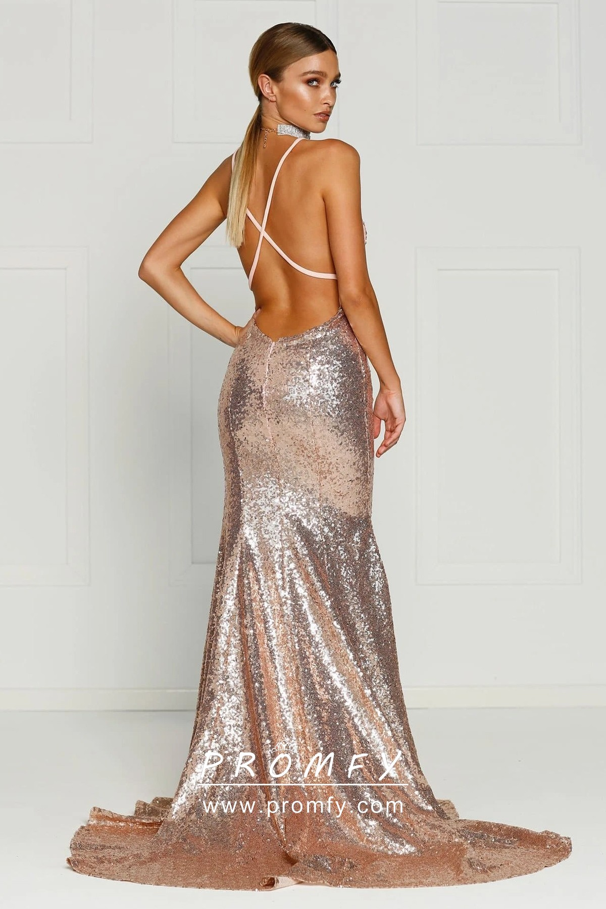 Long V-Neck Prom Dress with Sequin Print