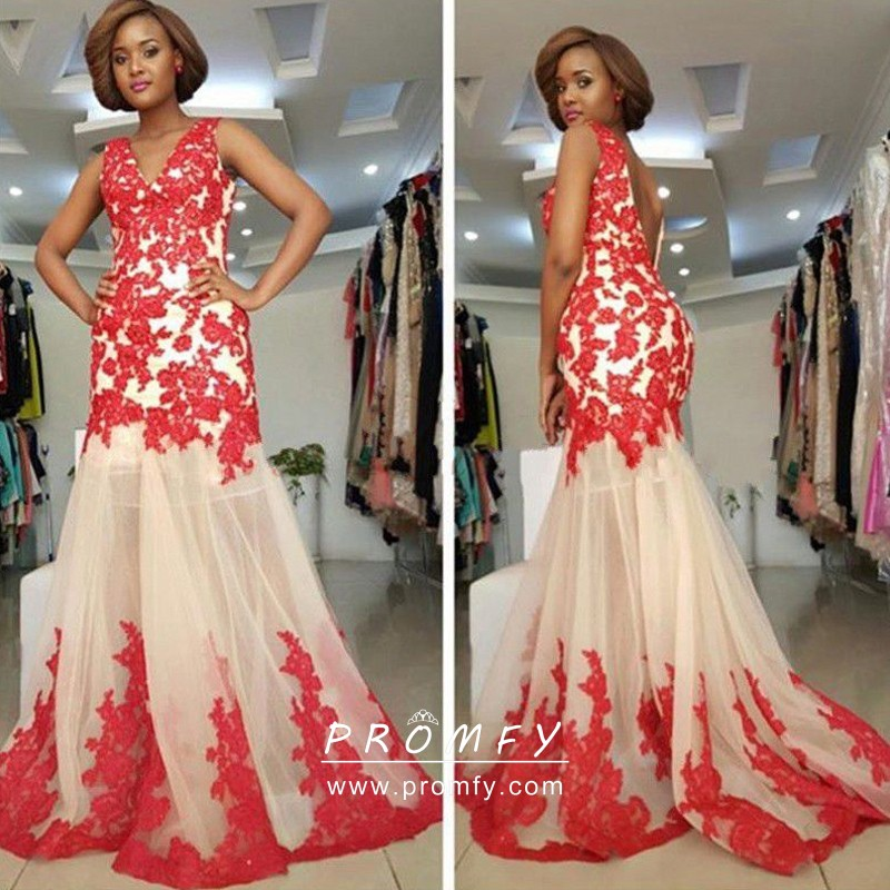 Red Lace Sheer Nude Tulle V Neck Mermaid Prom Dress - Promfy