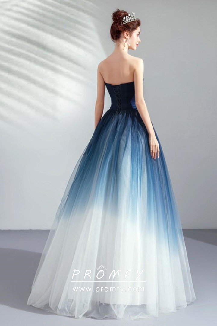 Navy Blue To White Ombre Unique Ballgown Prom Dress Promfy