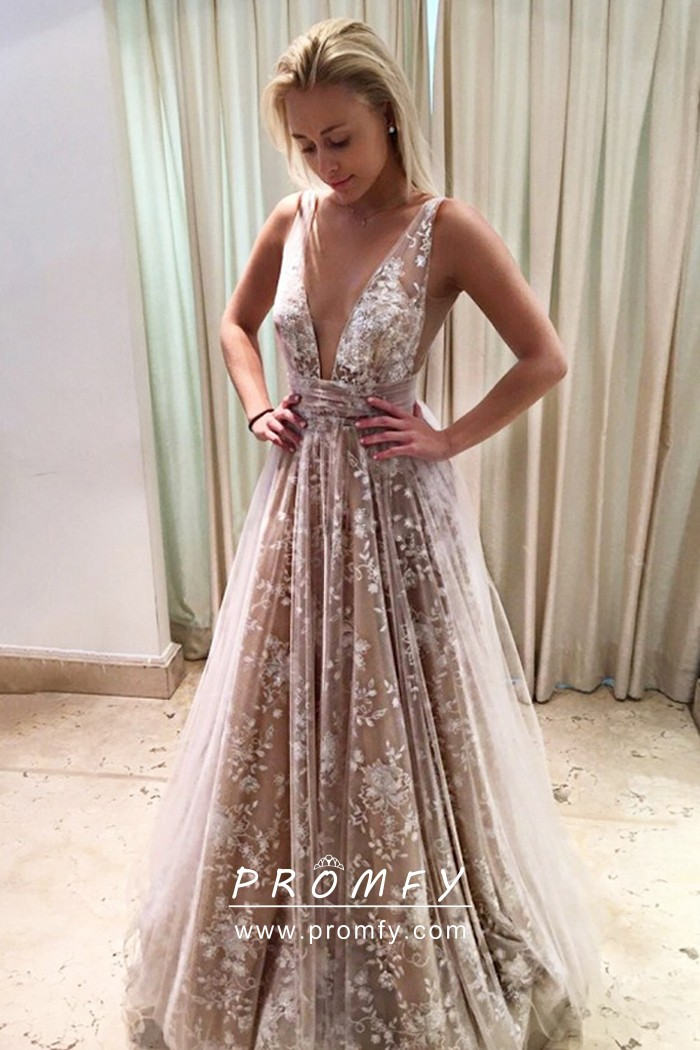 Nude Lace Sheer Tulle Plunging V Neck Prom Dress - Promfy
