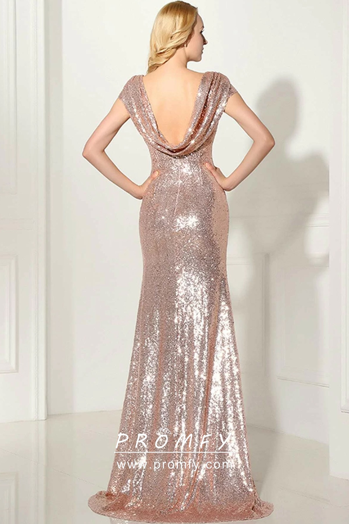 Cowl Neck Mermaid Long Silver Evening Dress with Open Back