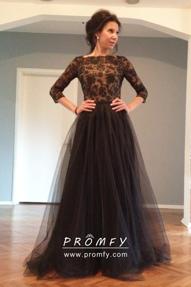 Black Lace And Tulle 3 4 Sleeve Wedding Guest Dress Promfy,Wedding Dresses For Rent