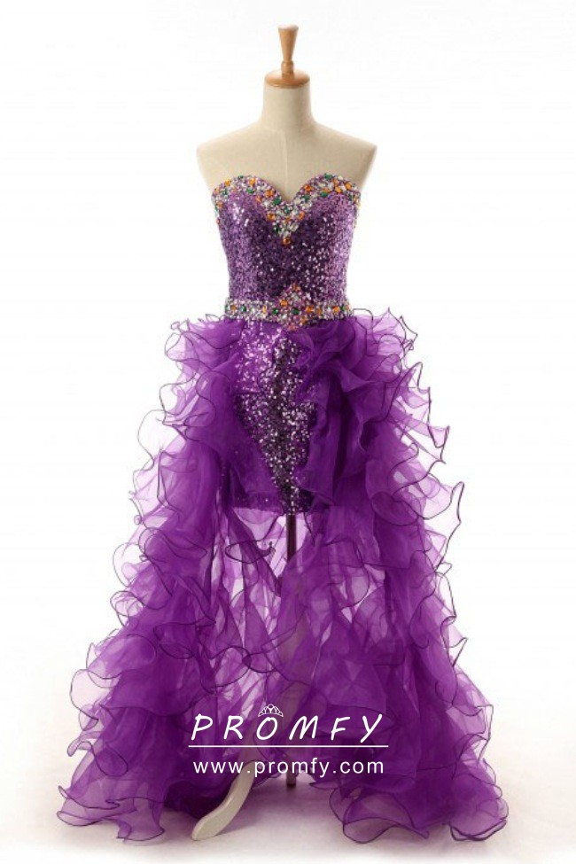 Beaded Purple Sequin And Ruffled Tulle Two Piece Fashion