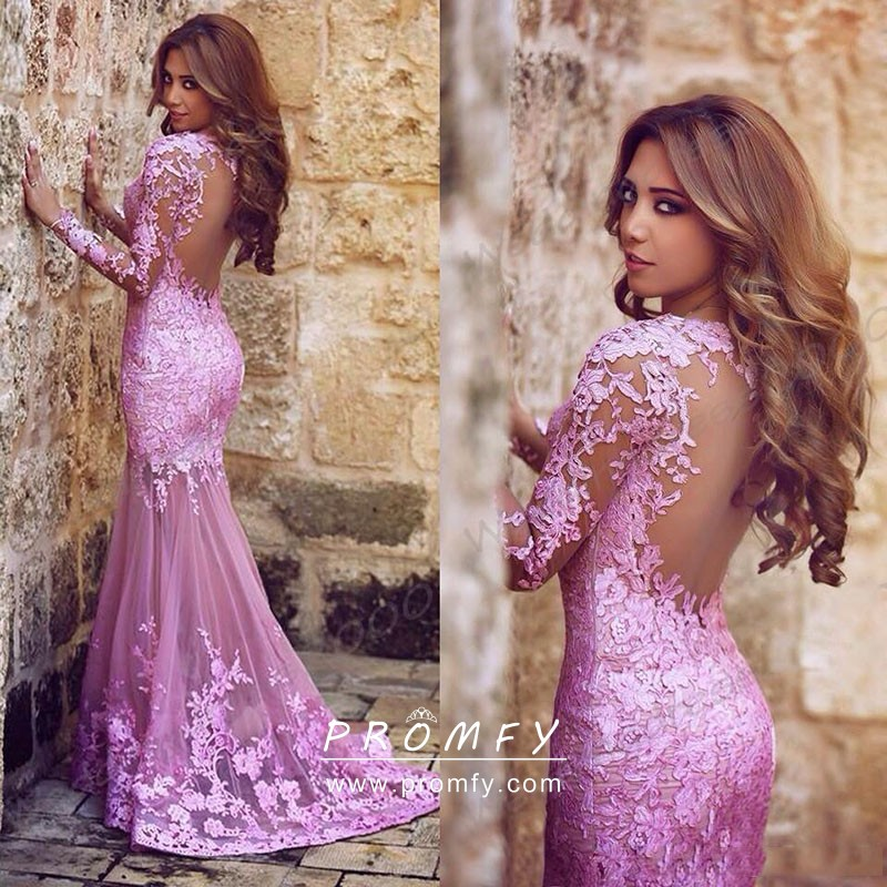 4ad60e05d4d4 delicate lilac lace long sleeve open back mermaid long evening prom formal  dress