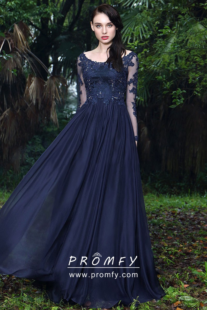 Midnight Navy Formal Gown Lace and Chiffon Long Sleeve A,line Wedding Guest  Dress