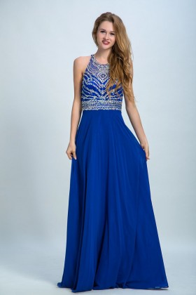 d206f818c0c80c Sparkly beaded royal blue chiffon prom dress floor length A line formal gown
