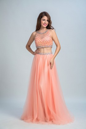 6f3073e8a4cf Sparkly glistening beaded two piece peach satin and tulle long prom gown