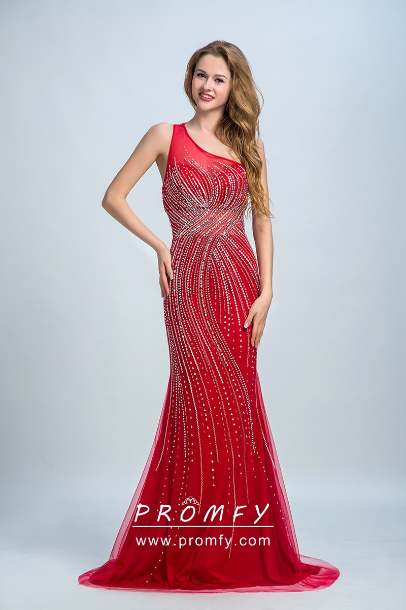 Curved Line Beaded Red One Shoulder Prom