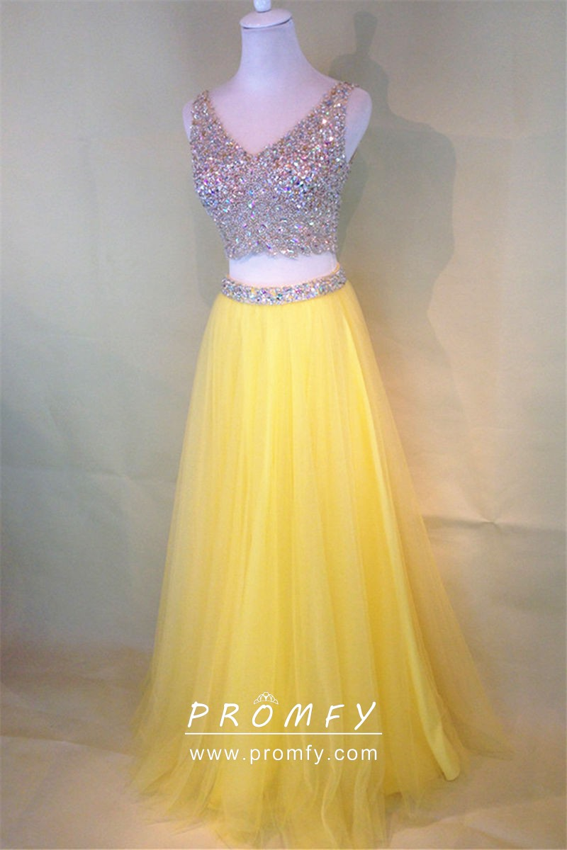 Two-piece Mango Yellow Tulle Beading