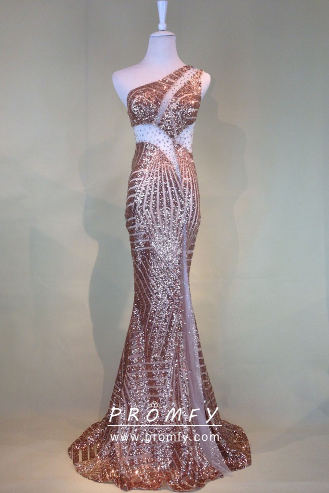 Sparkly Rose Gold Sequin with Beading and Mesh Cut-outs