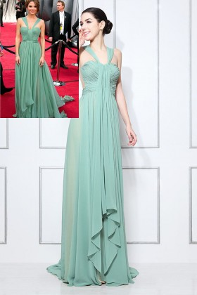 564b4ff9161 Maria Menounos pleated sage green chiffon sweetheart wide straps A line  long prom dress