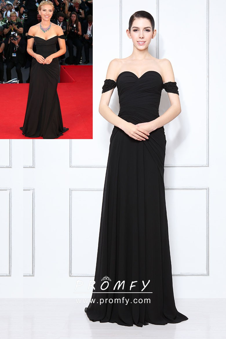 2b5563e528a1 Scarlett Johansson black off the shoulder sweetheart celebrity inspired formal  gown