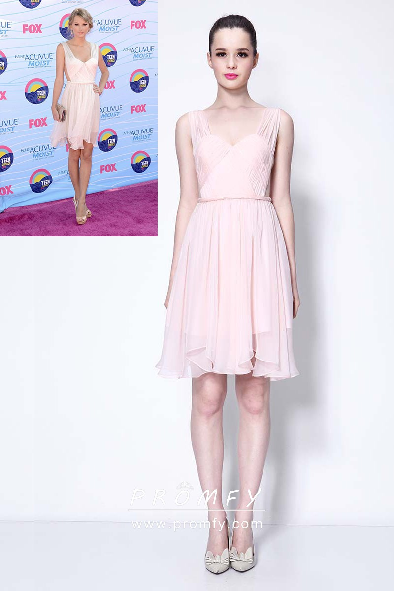 d7cc6a5e7f0 Taylor Swift baby pink sweetheart wide straps short chiffon celebrity  homecoming dress