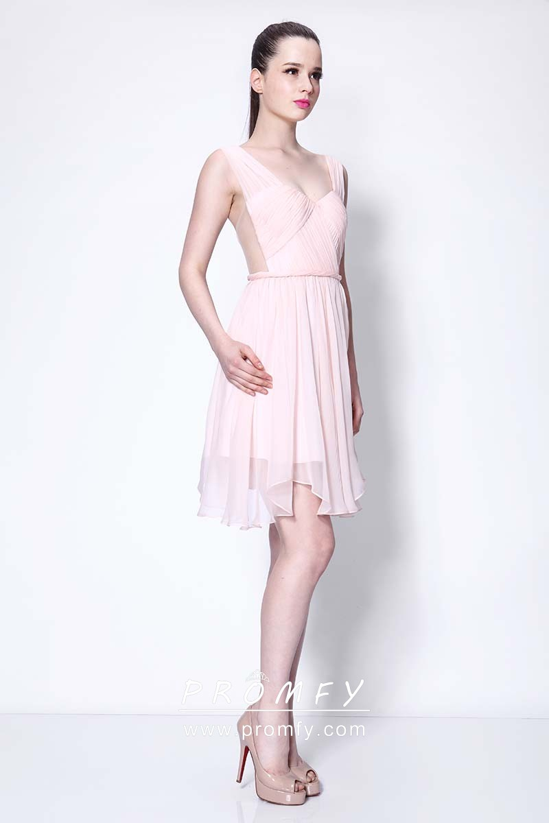 e2d504a41cb baby pink sweetheart wide straps short chiffon celebrity homecoming dress