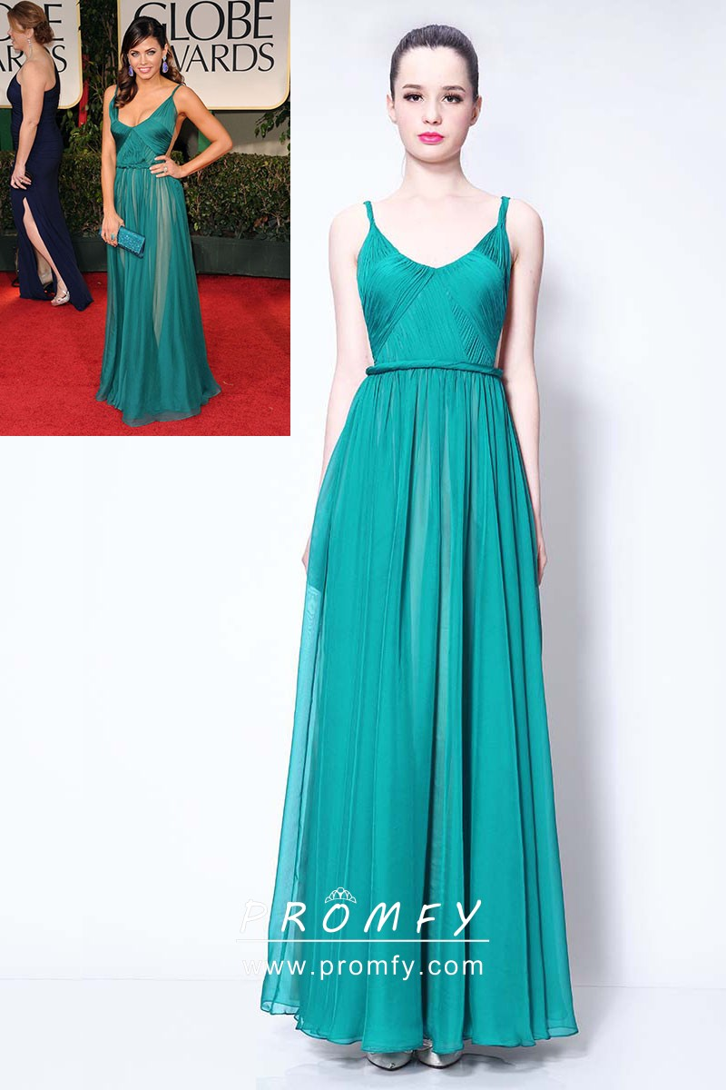 Pleated Jade Chiffon Celebrity Inspired Wedding Guest Evening Dress