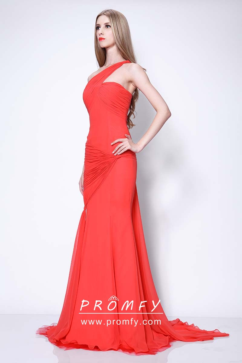 b292098818 Asymmetrical Pleated One Shoulder Red Chiffon Celebrity Elegant ...