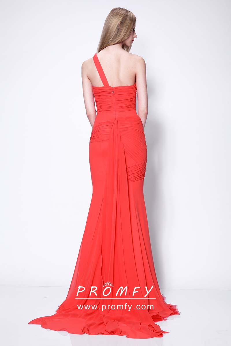 493540a7fa asymmetrical pleated one shoulder red chiffon gown. Sofia Vergara asymmetrical  pleated one shoulder red chiffon celebrity elegant formal gown
