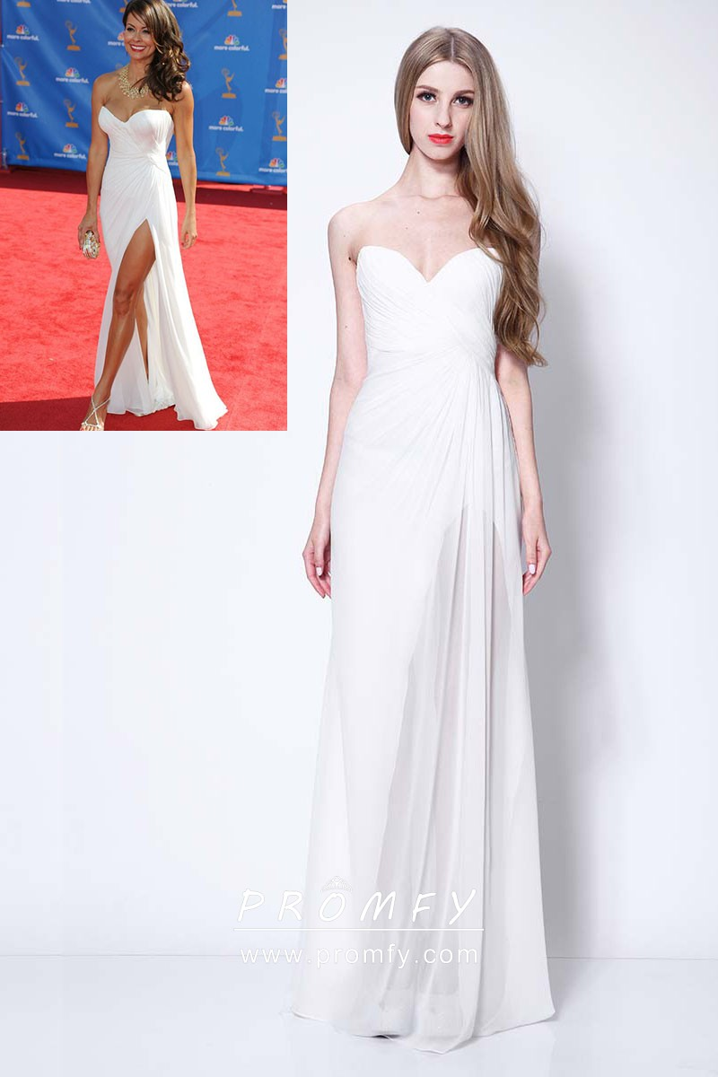 5cf45d0a4a0 Brooke Burke white chiffon simple strapless sweetheart celebrity inspired  prom dress