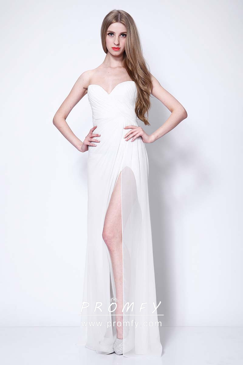 4a68f4601 White Chiffon Simple Strapless Sweetheart Celebrity Inspired Prom ...