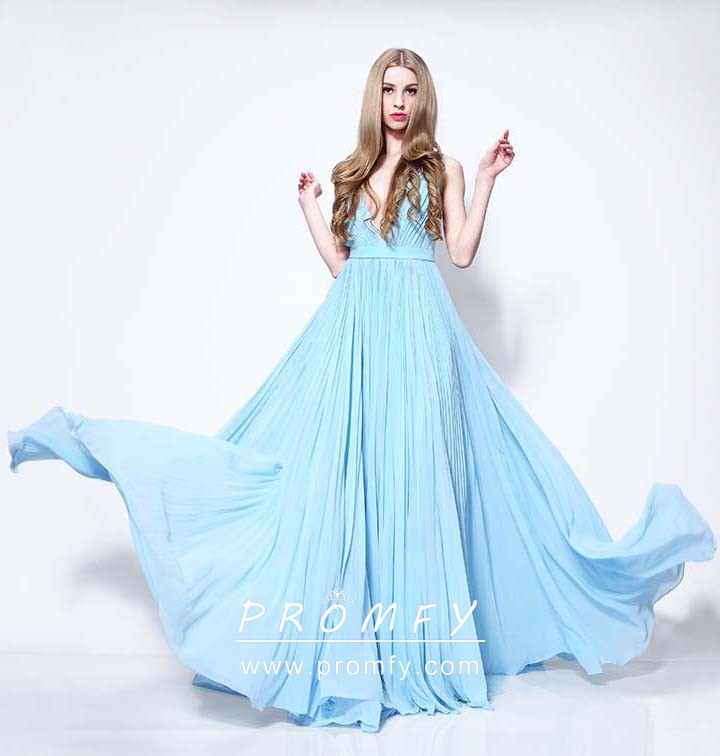 Light Blue Chiffon Plunging V Neck Simple Prom Gown - Promfy