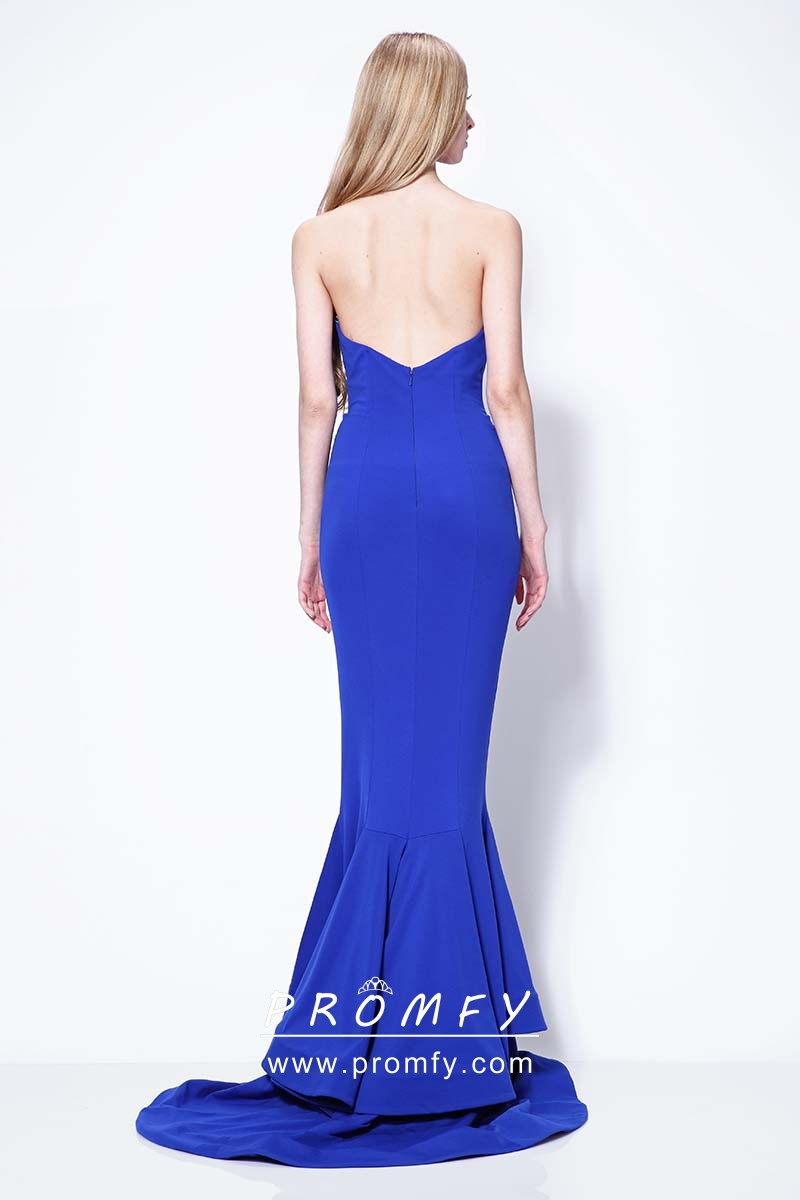 Cobalt Blue Spandex Cascading Ruffled Celebrity Mermaid Prom Dress