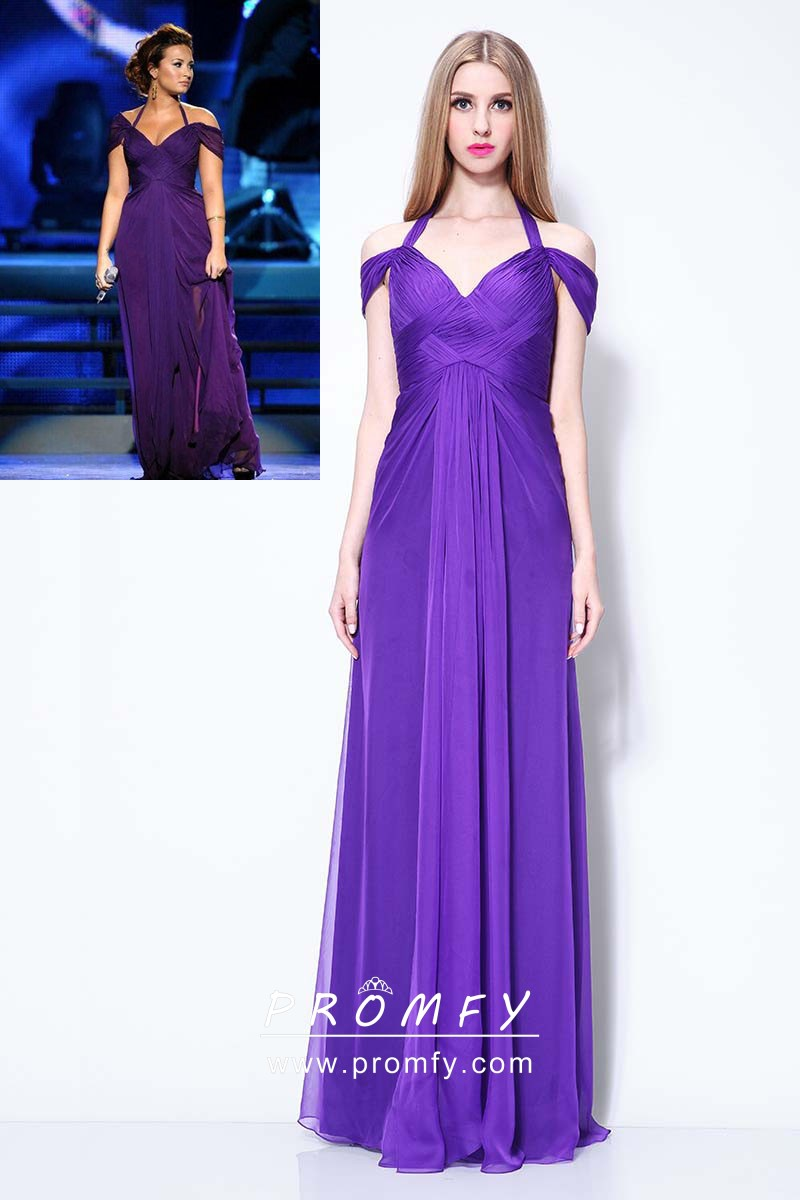 bffdce3494 Demi Lovato pleated purple chiffon cold shoulder empire waist celebrity  formal dress