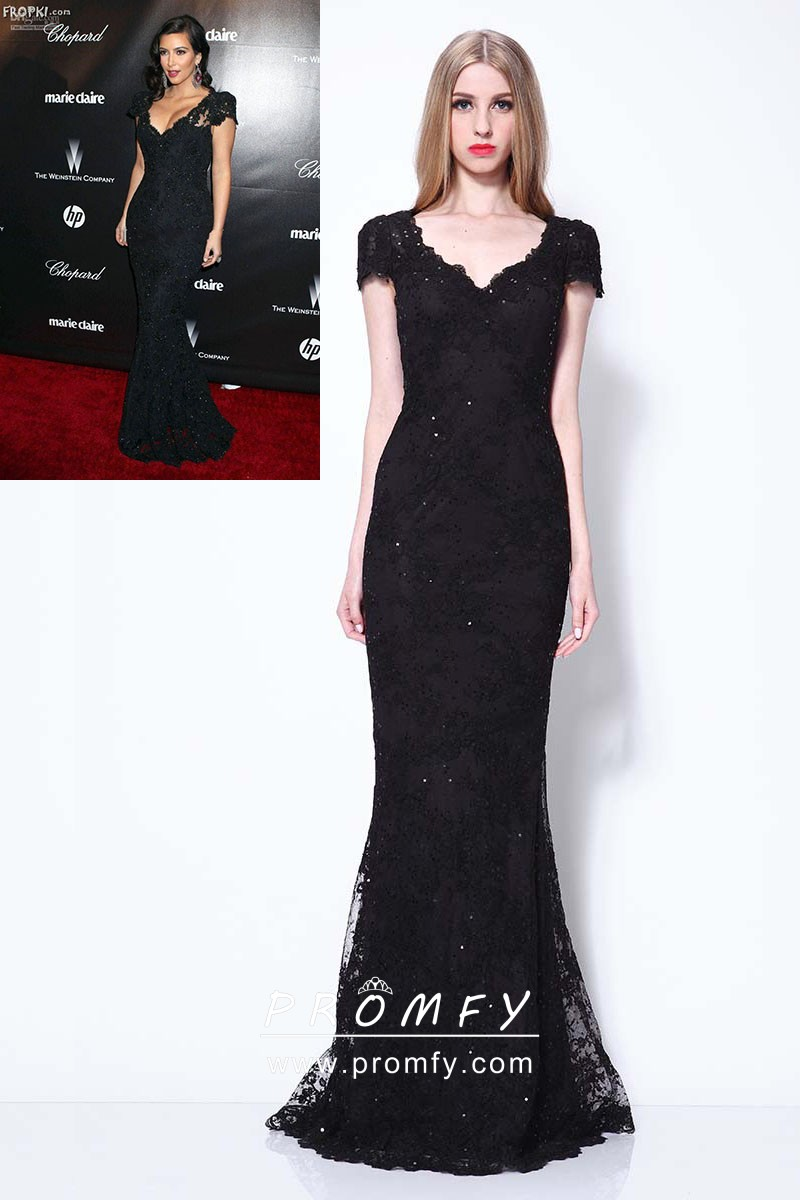 enjoy big discount online store hot-selling Beaded Black Lace Cap Sleeve Floor Length Mermaid Celebrity Formal Dress