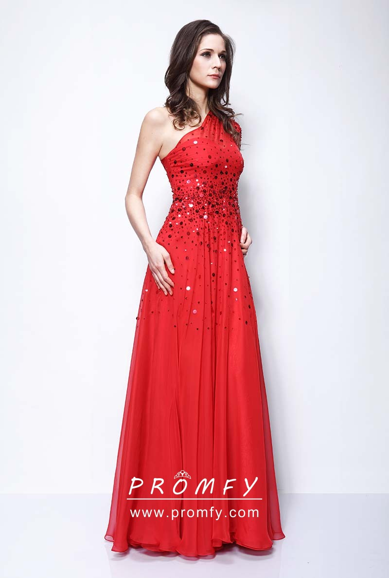 38c44c777d Red Sequinned One Shoulder Cap Sleeve Celebrity A-line Long Prom ...